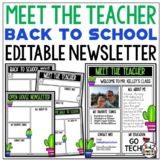 Cactus Meet the Teacher Template EDITABLE Newsletter Open House Forms