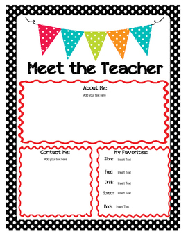 Meet the Teacher Newsletter-- EDITABLE!