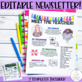Meet the Teacher Newsletter Template- EDITABLE Back To School