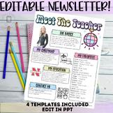Meet the Teacher Newsletter Template- EDITABLE Back To School