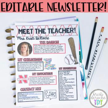 Meet the Teacher Newsletter- EDITABLE- Baseball Theme