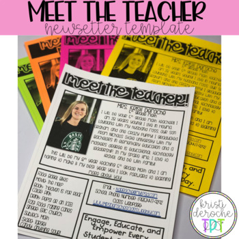 Meet the Teacher Newsletter- EDITABLE - Basic Printer Friendly