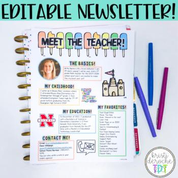 Meet the Teacher Newsletter- EDITABLE- Beach Theme