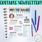 Meet the Teacher Newsletter- EDITABLE- Beach Theme