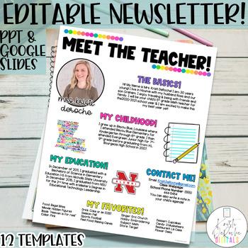 Meet the Teacher Newsletter- EDITABLE- Bright Stripes