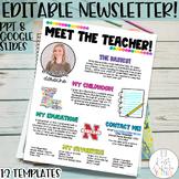 Meet the Teacher Newsletter Template EDITABLE Bright Strip