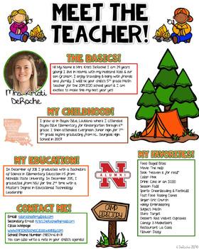 Meet the Teacher Newsletter - EDITABLE - Camping