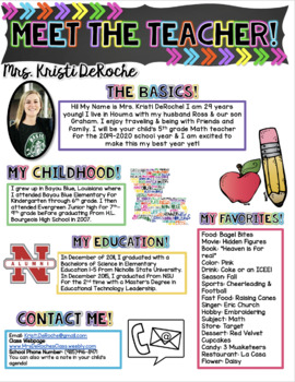 Meet the Teacher Newsletter- EDITABLE- Chalkboard and Arrows