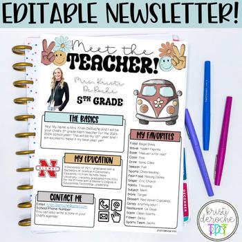Meet the Teacher Newsletter- EDITABLE- Chalkboard and Arrows