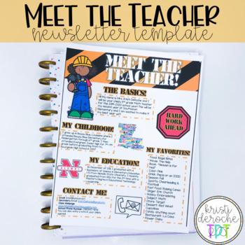 Meet the Teacher Newsletter- EDITABLE- Construction
