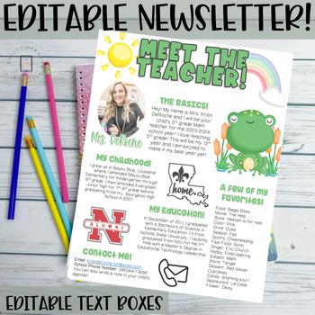 Meet the teacher newsletter editable frog theme by for Free meet the teacher template