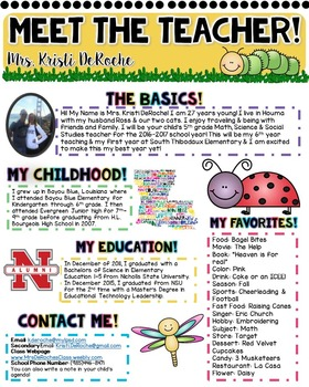 Meet the Teacher Newsletter- EDITABLE- Insect Theme
