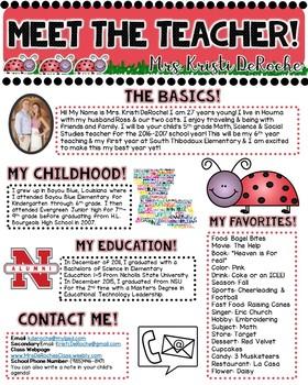 Meet the Teacher Newsletter- EDITABLE- Ladybug Theme