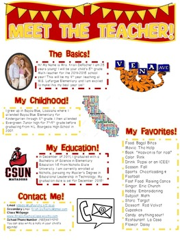 Meet the Teacher Newsletter- EDITABLE- Maroon & Gold