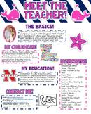 Meet the Teacher Newsletter- EDITABLE- Nautical (Navy, White, and Pink)