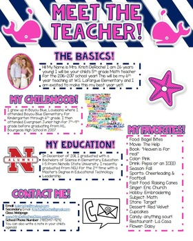Meet the Teacher Newsletter- EDITABLE- Nautical (Navy, Whi