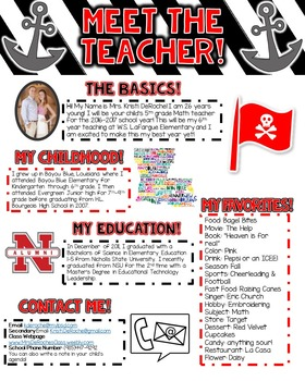 Meet the Teacher Newsletter- EDITABLE- Nautical (Red, Whit