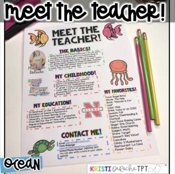 Meet the Teacher Newsletter - EDITABLE - Ocean
