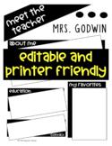 Meet the Teacher Newsletter-EDITABLE-Printer Friendly