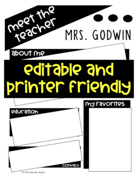 Meet the Teacher Newsletter-EDITABLE-Printer Friendly