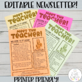 Meet the Teacher Newsletter- EDITABLE- Printer Friendly Version