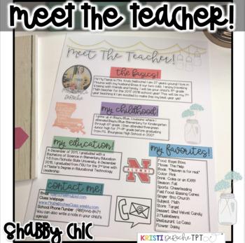 Meet the Teacher Newsletter- EDITABLE - Shabby Chic