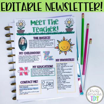 Meet the Teacher Newsletter- EDITABLE- Spring Theme