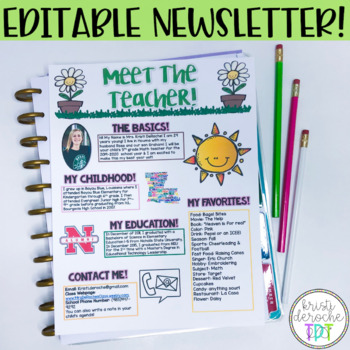 Meet the Teacher Newsletter- EDITABLE- Spring Theme