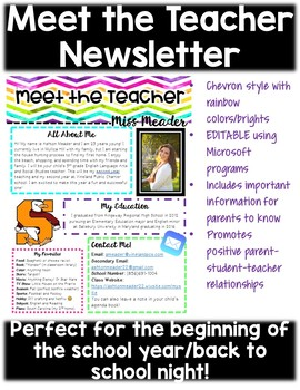 Meet the Teacher Newsletter (EDITABLE & perfect for Back to School Night)