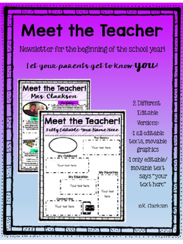 Meet the Teacher Newsletter {Editable}