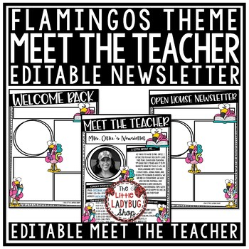 Flamingo Theme Meet The Teacher Template Editable & Meet the Teacher Letter