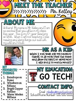 Meet the Teacher Newsletter: Emoji - EDITABLE