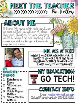Meet the Teacher Newsletter: Floral - EDITABLE