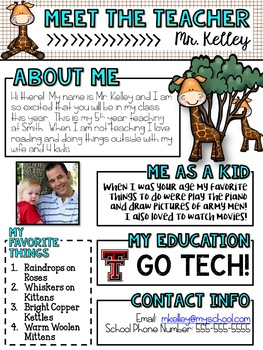 Meet the Teacher Newsletter: GIRAFFES - EDITABLE