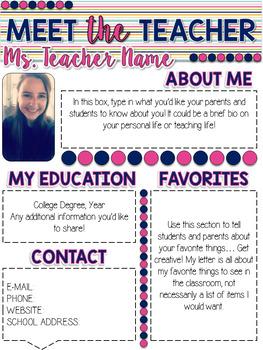 Meet the Teacher Newsletter - Navy & Pink