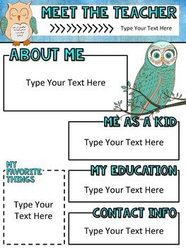 Meet the Teacher Newsletter: Owls - EDITABLE