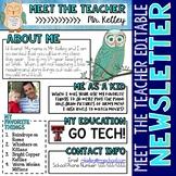 Owls Meet the Teacher Newsletter Template EDITABLE