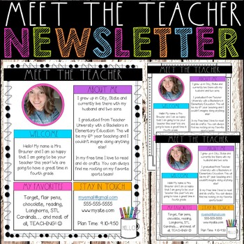 Meet the Teacher Newsletter - Teacher Favorites