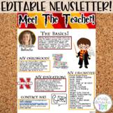 Meet the Teacher Newsletter Template Editable Wizards