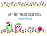 Owl/Chevron Meet the Teacher Night Organization Signs