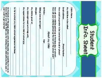 Meet the Teacher Night Activities and Signs