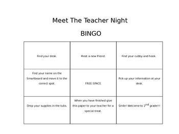 Meet the Teacher Night BINGO