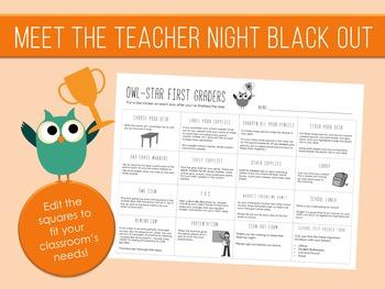 Meet the Teacher Night Black Out - Owl Stars Theme - Editable - Checklist