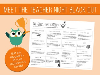 Meet the Teacher Night Black Out - Owl Stars Theme - Editable - Checklist