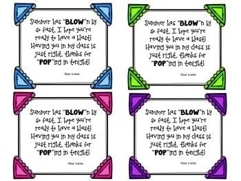 Meet the Teacher Night Blow Pop Gift Tags