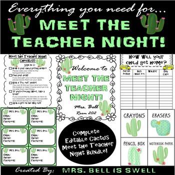 Meet the Teacher Night Bundle (Cactus Theme) *Editable*