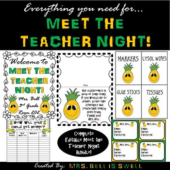 Meet the Teacher Night Bundle (Pineapple Theme) *Editable*