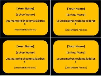 Meet the Teacher Night Business Cards - 6 Styles