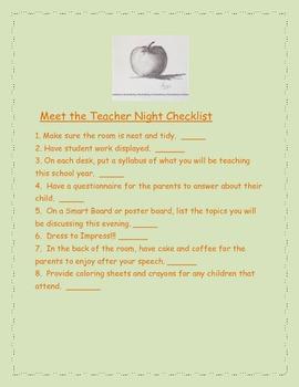 Meet the Teacher Night Checklist