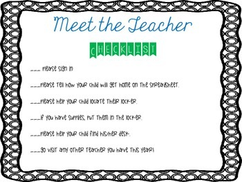 Meet the Teacher Night Checklist